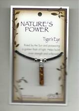 NATURE'S POWER TIGER'S EYE STONES PENDANT ON BLACK CORD WITH HEALING PROPERTIES