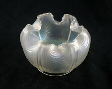 Northwood Drapery White Carnival Glass Rose Bowl, Signed, Antique, Scalloped Rim