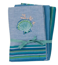 """""""SEA SCALLOP"""" - Kay Dee Cotton Embroidered 3-Piece Tea Towel Gift Set NEW"""