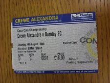 Crewe Alexandra V: 06/08/2005 Ticket Burnley (plegado). este artículo ha sido Inspec