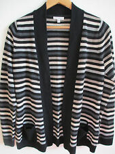 Women's Striped Cardigan Sweater Siz Small S Croft Barrow Multi-color Open Front
