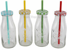 Vintage Set of 4 Glass Milk Milkshake Smoothie Bottles Gingham Lids Straws Retro