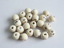 40 x Wooden Round Painted Smile Face Jewelry Craft Ball Loose Beads 13x12mm