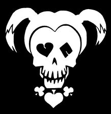 HARLEY QUINN Skull Face Suicide Squad Vinyl Decal Sticker Car Window Wall White