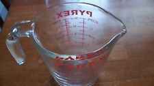 Vintage Pyrex 2 CUP Measuring Cup  516 Open handle Red letters metric