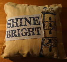 SHINE BRIGHT Yellow Nautical Canvas Linen LIGHTHOUSE PILLOW Beach Home Decor NEW
