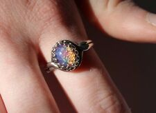 Sterling Silver pink Dragons Breath,Mexican fire opal ring, oval, petite ring
