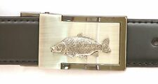 Common Carp Belt Buckle and Leather Belt in Gift Tin Coarse Fishing Present