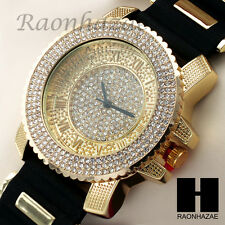 Men LIL WAY Hip Hop Gold Iced Out Bling Diamond Rapper Black Silicone Watch 205G