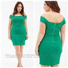 New Forever 21 Off The Shoulders Green Dress Sz XL 12/14