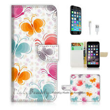 """iPhone 6 (4.7"""") Print Flip Wallet Case Cover! Lovely Butterfly P0177"""