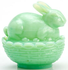 Bunny Rabbit on Basket Covered Dish - Mosser USA - Jade Jadeite Green Glass