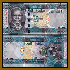 South Sudan 10 Pounds, 2011 P-7 John Garang African Buffalo Pineapple Unc