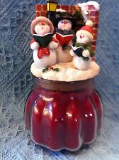 NEW HOME INTERIORS RED CHRISTMAS CANDLE AND SNOWMAN TOPPER