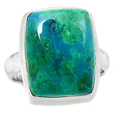 Chrysocolla - Peru 925 Sterling Silver Ring Jewelry s.7 CCPR71