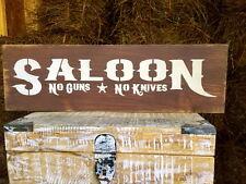 """Large Rustic Wood Sign - """"Saloon No Guns No Knives"""" - Western Cowboy Distressed"""