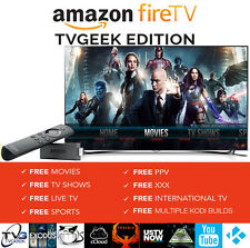NEW FULLY LOADED AMAZON FIRE TV STICK + ALEXA VOICE REMOTE + TVGEEK 16.1 US