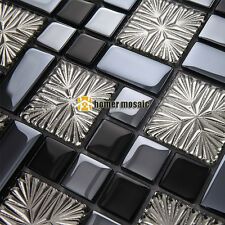 glossy gray glass mosaic for bathroom shower tile kitchen backsplash