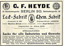 C.F. Heyde Berlin LACK- & CHEMISCHE FABRIK Historische Reklame von 1896