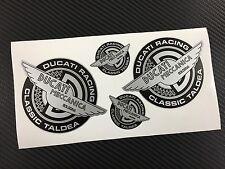4 Adesivi Stickers DUCATI RACING TALDEA Meccanica Vintage Silver & Black