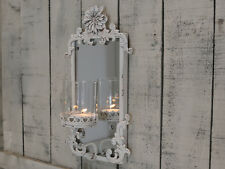 Spiegel m. Windlicht Chic Antique antikcreme shabby Deko Wandspiegel NEU