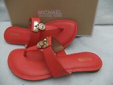MICHAEL KORS Hamilton Flat Orange Coral Leather Thong Sandal Size 8.5 NIB $99