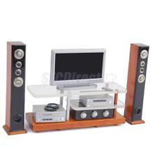 Dollhouse Miniature Widescreen Television DVD Hifi Stereo w/ Wooden TV Stand
