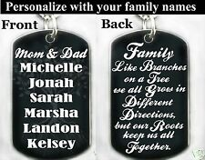 FAMILY TREE POEM-Dog Tag Necklace or Key chain + FREE PERSONALIZATION