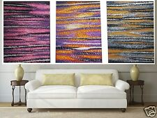 Triptych Art  Aboriginal Painting Large Pinnacles Dream Landscape Jane Crawford