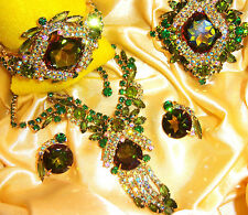 VTG JULIANA WATERMELON RHINESTONE NECKLACE CLAMPER BRACELET BROOCH EARRING SET