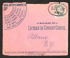 USA #206 STAMP MASSACHUSETTS IDEAL ARTISTE CONCERT CO ADVERTISING COVER 1884