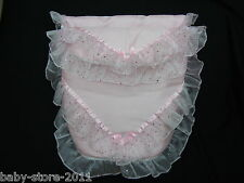 BEAUTIFUL. PRAM  COSYTOES  / FOOTMUFF   ROMANY  STYLE. BLING  COLOUR  BABY PINK