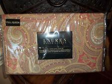 NIP Ralph Lauren Pink/Yellow/Green/Taupe Full/Queen Duvet Cover Set 3pc