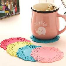 New Flower Shaped 4Pcs Silicone Mats Pad Cushion Drinks Tea Color Random Brand