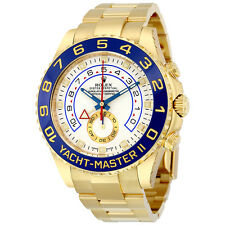 Rolex Yachtmaster II White Arabic Dial Oyster Bracelet 18k Yellow Gold Mens