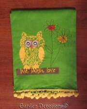 Adorable! LIVE LOVE LAUGH OWL FRINGED HAND TEA TOWEL Embroidered Cotton/Linen