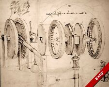 LEONARDO DA VINCI ENGINEER SKETCH MACHINE GEARS DRAWING REAL CANVAS ART PRINT