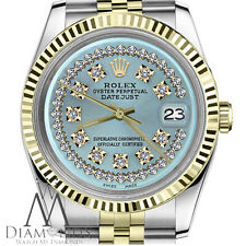 Ice Blue 18K/2Tone Womens Rolex 26mm Datejust String Diamond Dial Jubilee Watch
