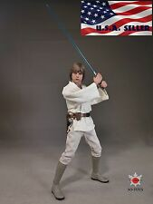 1/6 STAR WARS Luke Skywalker Head Sculpt White Costume Suit Set  IN STOCK