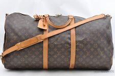Auth Louis Vuitton Monogram Keepall Bandouliere 60 Boston Bag M41412 LV 29378