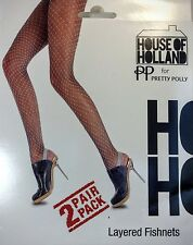 House of Holland Pretty Polly Layered Fishnets Tights Two Pair Pack One Size NEW