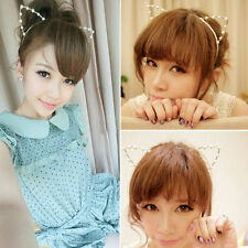 Cat Ears Metal Faux Pearls Silver Punk Costume Party Headband Hair Band