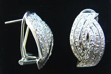 WOMENS STERLING SILVER CLUSTER CROSSOVER CUBIC ZIRCONIA OMEGA BACK EARRINGS BNIB