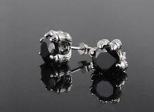 Sterling silver Women Men Eagle Dragon Claw Obsidian Black Stud Earrings Box P3