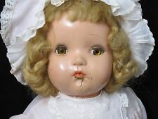"Vintage 1930s Composition 20"" Baby Doll Blonde Mohair Wig & Original pink dress"