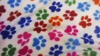 Animal Print Antipil Polar fleece Fabric - Dog Paw Print - FREE UK P&P