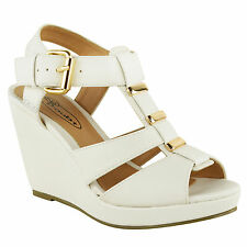 NEW WOMENS LADIES LOW MID HIGH HEEL STRAPPY WEDGES PEEP TOE SANDALS SHOES SIZE