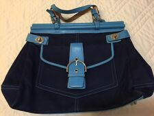 COACH WOMEN PURSE NAVY TURQUOISE LARGE