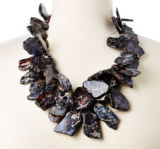 Black Grey Hues Jasper Chunky Gem Nest Necklace Statement Jewelry MADE IN USA