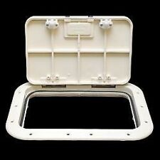 "RABUD HANDLE LEVER DECK HATCH DOOR 7"" X 11"" OFF WHITE MARINE BOAT"